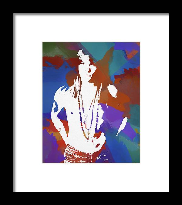 Axl Rose Framed Print featuring the painting Axl Rose Color Blast by Dan Sproul