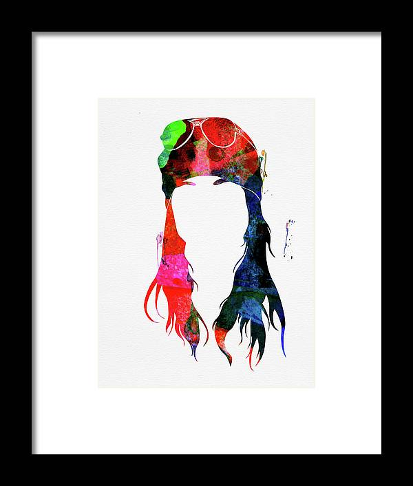 Axl Rose Framed Print featuring the mixed media Axl Rose Watercolor by Naxart Studio