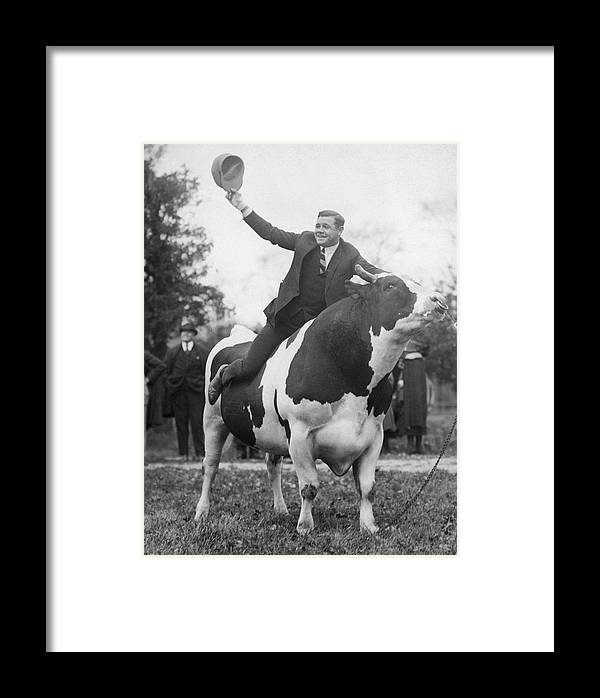 Recreational Pursuit Framed Print featuring the photograph Babe Ruth Astride King Jess by Fpg