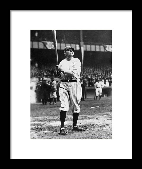 People Framed Print featuring the photograph Babe Ruth Batting For Ny Yankees by Topical Press Agency