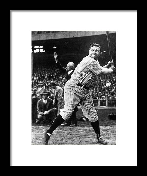American League Baseball Framed Print featuring the photograph Babe Ruth Eye On Ball by Transcendental Graphics
