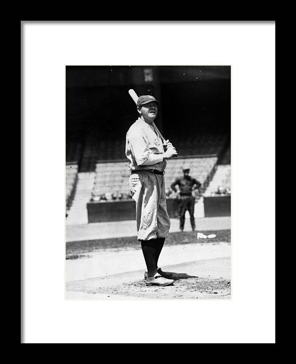 People Framed Print featuring the photograph Babe Ruth by General Photographic Agency