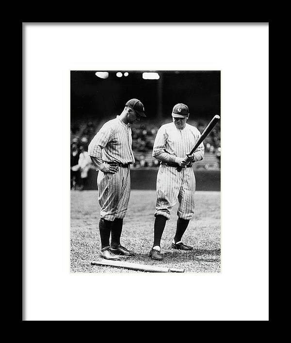 American League Baseball Framed Print featuring the photograph Babe Ruth Lou Gehrig 1923 by Transcendental Graphics