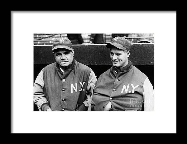 American League Baseball Framed Print featuring the photograph Babe Ruth Lou Gehrig 1929 by Transcendental Graphics