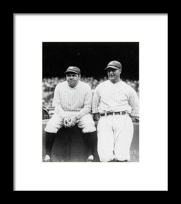 American League Baseball Framed Print featuring the photograph Babe Ruth Lou Gehrig Yankee Stadium by Transcendental Graphics