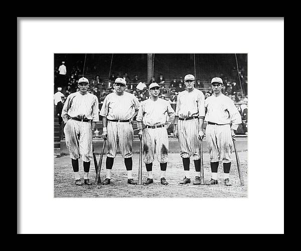 American League Baseball Framed Print featuring the photograph Babe Ruth Murderers Row 1921 by Transcendental Graphics