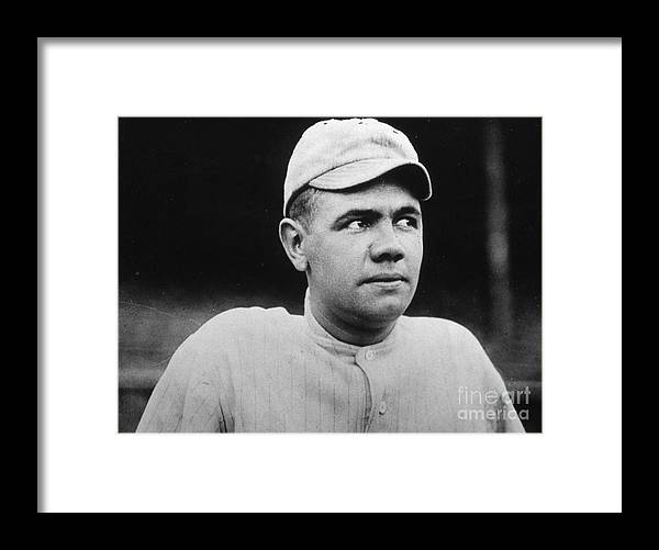 People Framed Print featuring the photograph Babe Ruth Portrait Boston 1916 by Transcendental Graphics