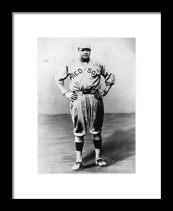 People Framed Print featuring the photograph Babe Ruth Red Sox Ff Portrait by Transcendental Graphics