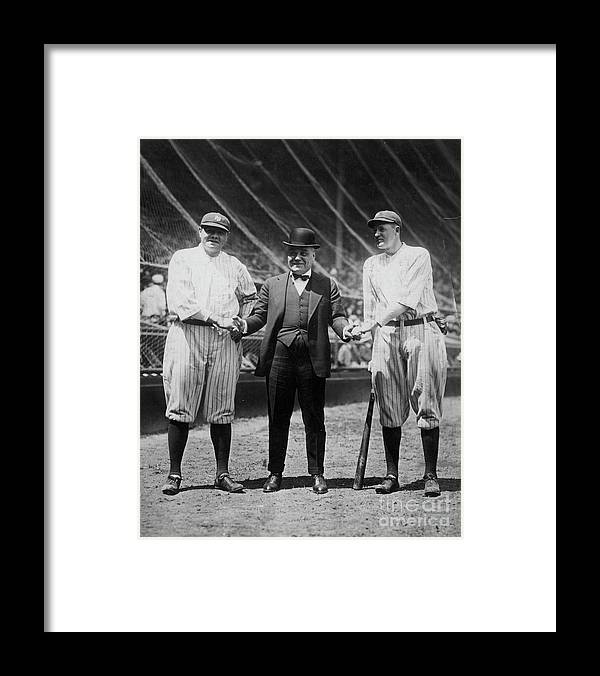 American League Baseball Framed Print featuring the photograph Babe Ruth Ruppert Meusel by Transcendental Graphics