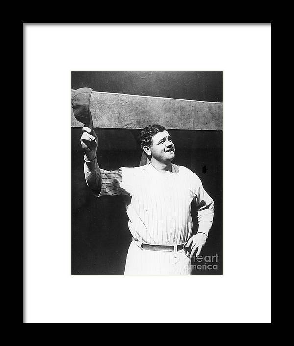 People Framed Print featuring the photograph Babe Ruth Salutes The Crowd by Transcendental Graphics