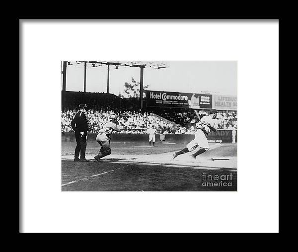 American League Baseball Framed Print featuring the photograph Babe Ruth Smashing 1920 by Transcendental Graphics