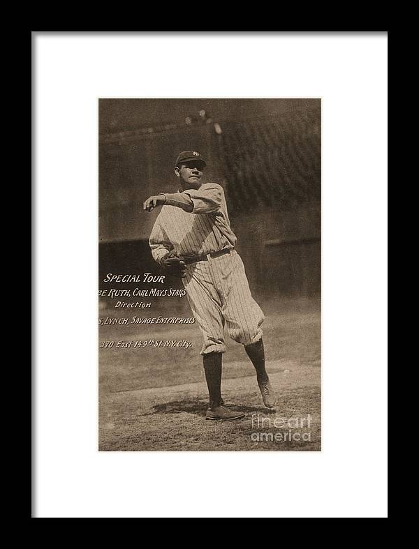 People Framed Print featuring the photograph Babe Ruth Special Tour Postcard by Transcendental Graphics