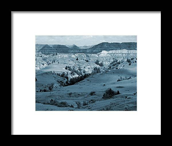North Dakota Framed Print featuring the photograph Badlands Shadows And Sunlight by Cris Fulton
