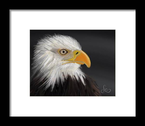 Bald Eagle Framed Print featuring the pastel Bald Eagle by Fe Jones