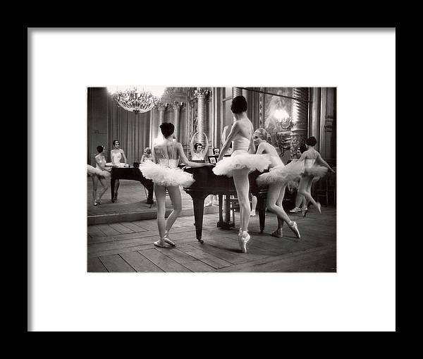 Ballet Dancer Framed Print featuring the photograph Ballerinas At The Paris Opera Doing by Alfred Eisenstaedt