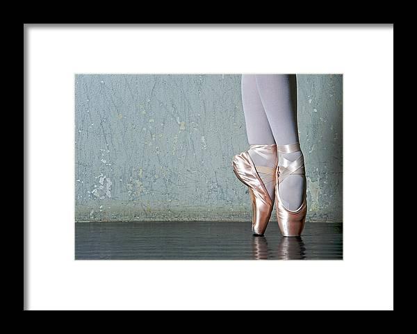 Ballet Dancer Framed Print featuring the photograph Ballet Dancers Feet En Pointe by Dlewis33