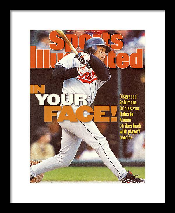 Magazine Cover Framed Print featuring the photograph Baltimore Orioles Roberto Alomar, 1996 American League Sports Illustrated Cover by Sports Illustrated