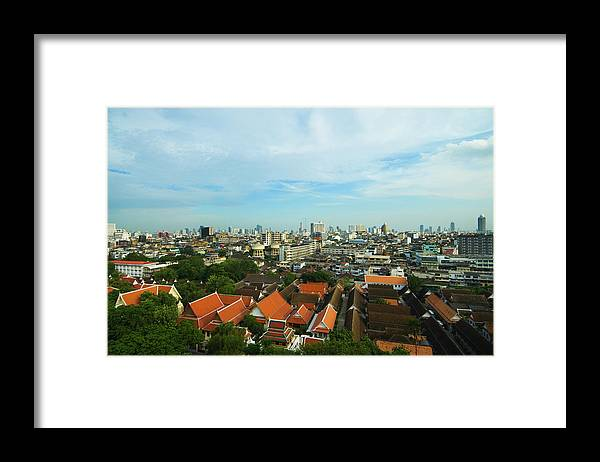 Tropical Tree Framed Print featuring the photograph Bangkok View With Temple Roofs 2 by Sndrk