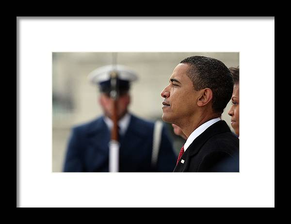 Looking Framed Print featuring the photograph Barack Obama Is Sworn In As 44th by John Moore