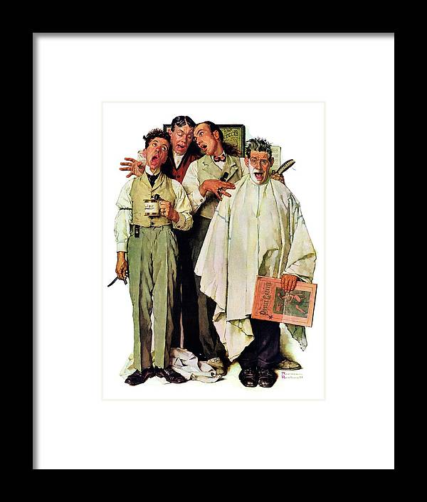 Barbers Framed Print featuring the drawing Barbershop Quartet by Norman Rockwell