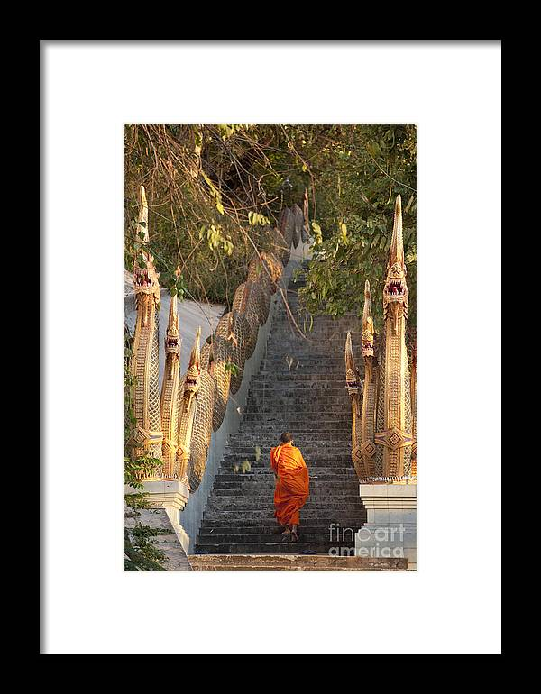 Religious Framed Print featuring the photograph Barefooted Buddhist Monks In Chiang Mai by 10 Face