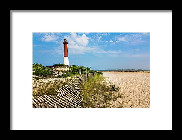 Water's Edge Framed Print featuring the photograph Barnegat Lighthouse, Sand, Beach, Dune by Dszc