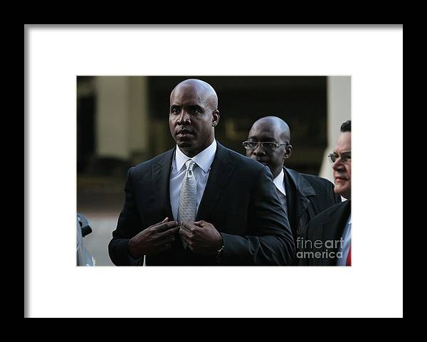 California Framed Print featuring the photograph Barry Bonds Perjury Trial Begins In San by Justin Sullivan