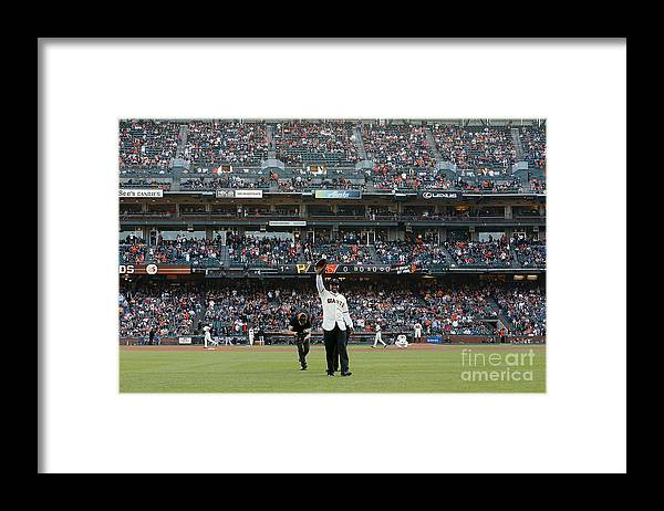 Event Framed Print featuring the photograph Barry Bonds San Francisco Giants Number by Pool