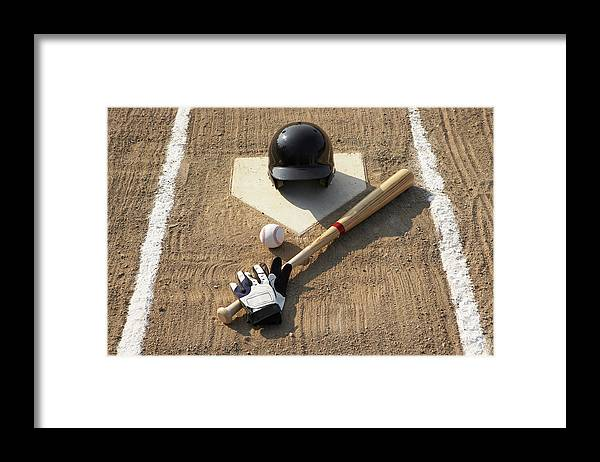 Shadow Framed Print featuring the photograph Baseball, Bat, Batting Gloves And by Thomas Northcut