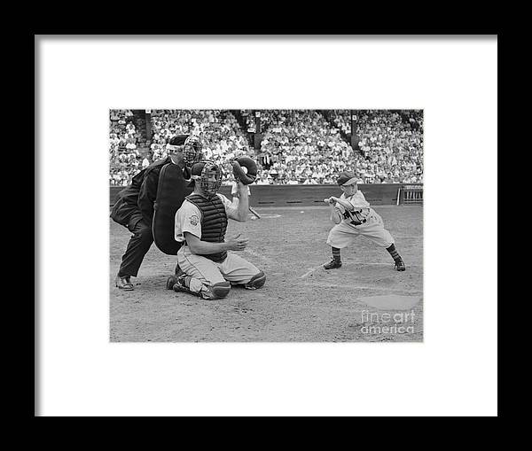 Crowd Of People Framed Print featuring the photograph Baseball Gimmick Utilizing Dwarf by Bettmann
