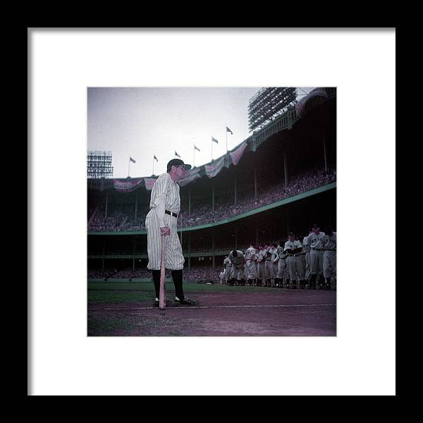 Crowd Framed Print featuring the photograph Baseball Great Babe Ruth, In Uniform by Ralph Morse