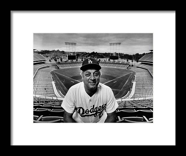 Event Framed Print featuring the photograph Baseball Manager Tommy Lasorda Portrait by George Rose