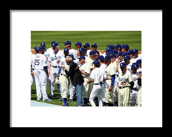 Sandy Koufax Framed Print featuring the photograph Baseball - National League - Giants Vs by Icon Sports Wire