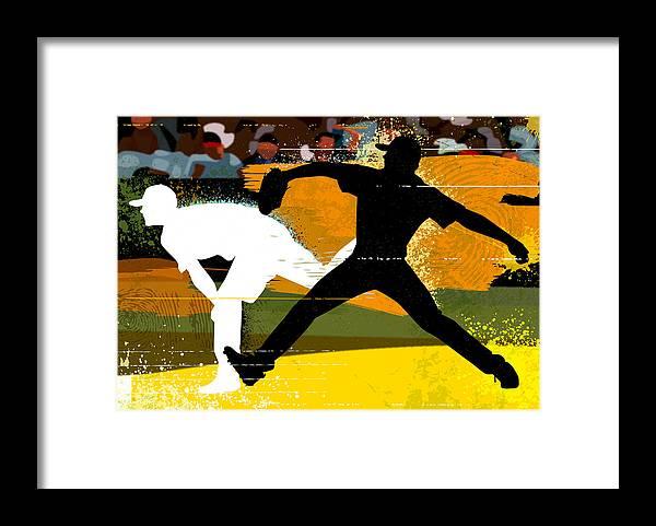 Baseball Cap Framed Print featuring the digital art Baseball Pitcher Throwing Baseball by Greg Paprocki