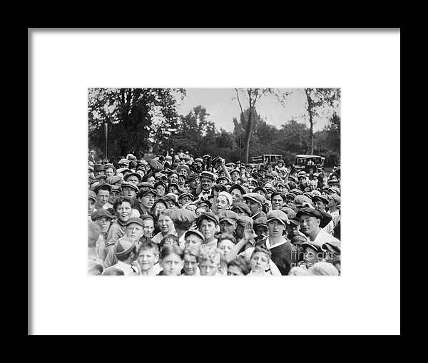 Young Men Framed Print featuring the photograph Baseball Player Babe Ruth Among 5,000 by Bettmann