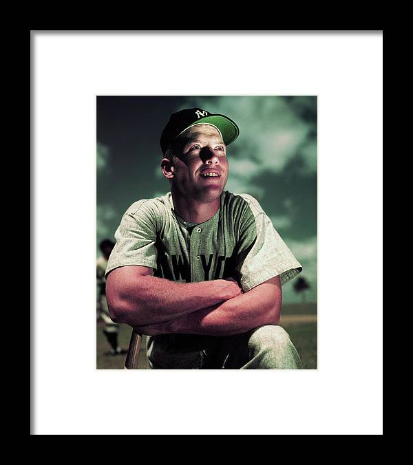People Framed Print featuring the photograph Baseball Player Mickey Mantle by Bettmann