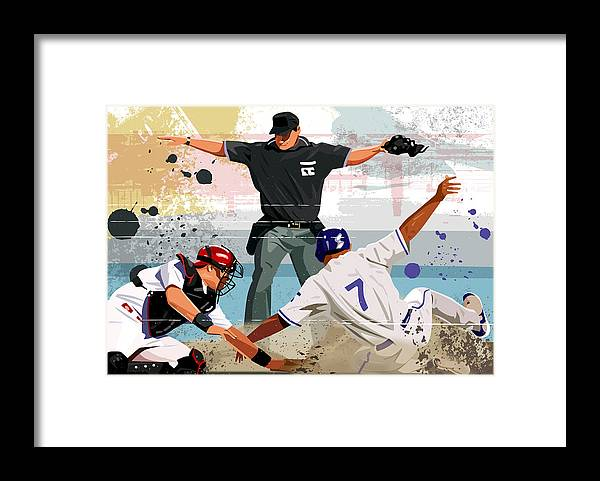 Helmet Framed Print featuring the digital art Baseball Player Safe At Home Plate by Greg Paprocki