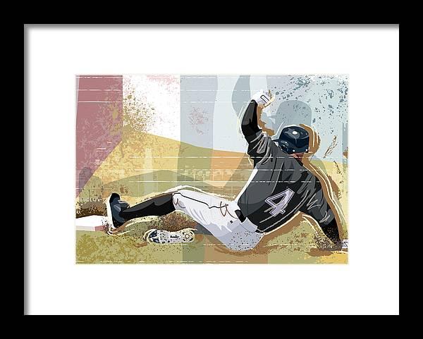 Sports Helmet Framed Print featuring the digital art Baseball Player Sliding Into Base by Greg Paprocki