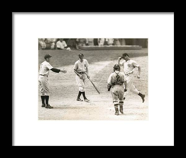 Home Base Framed Print featuring the photograph Baseball Star Joe Dimaggio by Sports Studio Photos