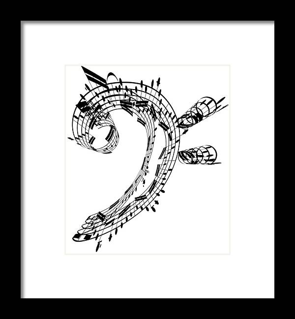 Sheet Music Framed Print featuring the digital art Bass Clef Made Of Music Notes by Ian Mckinnell