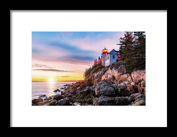 Bass Harbor Framed Print featuring the photograph Bass Harbor Head Lighthouse At Sunset, In Maine by Mihai Andritoiu