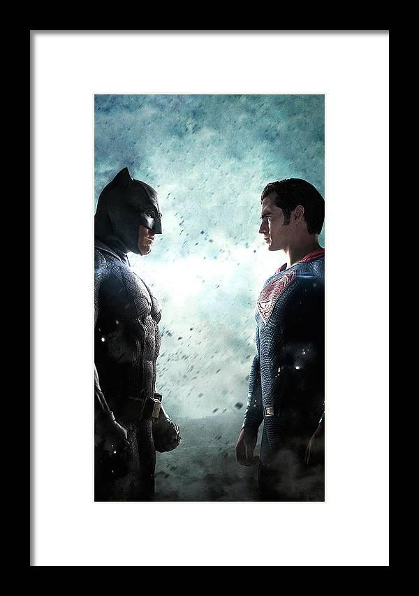 Batman V Superman Dawn Of Justice Textless Poster Framed Print featuring the digital art Batman V Superman Dawn Of Justice Textless Poster by Geek N Rock