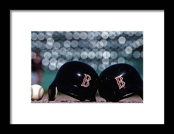 Headwear Framed Print featuring the photograph Batting Helmets by Ronald C. Modra/sports Imagery