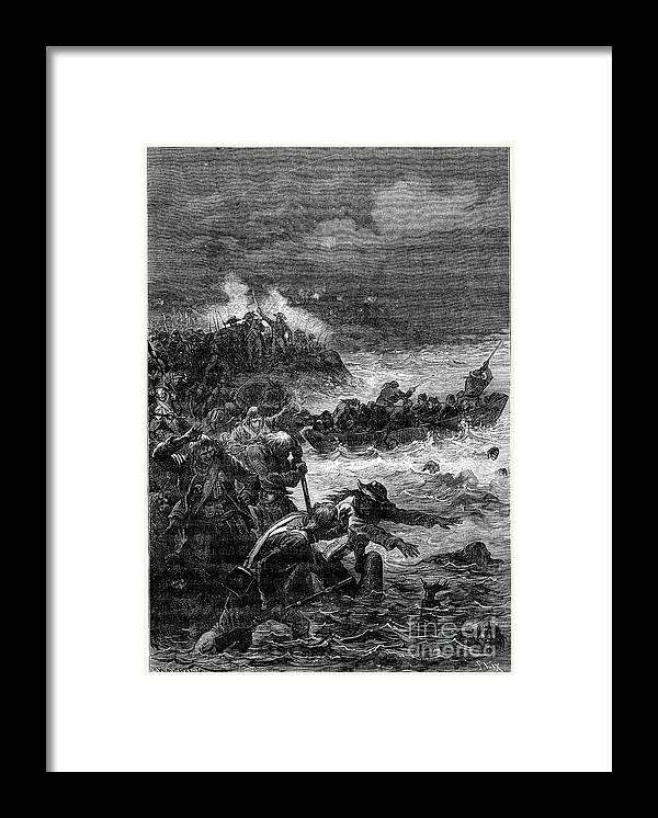 Drowning Framed Print featuring the drawing Battle Of Quiberon, 1898. Artist Barbant by Print Collector