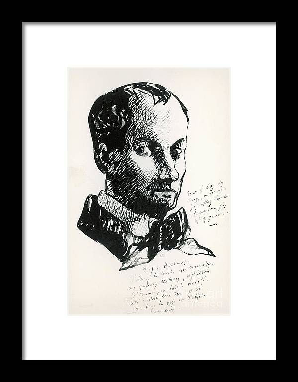 Self-portrait Framed Print featuring the drawing Baudelaire Self-portrait by Charles Baudelaire