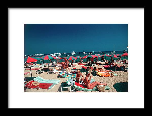 People Framed Print featuring the photograph Beach At St. Tropez by Slim Aarons