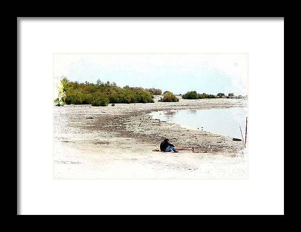 Watercolor Framed Print featuring the photograph Beach Goers-The Salton Sea in Digital Watercolor by Colleen Cornelius