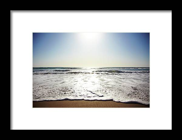 Tranquility Framed Print featuring the photograph Beach In California On Pacific Ocean by Thomas Northcut