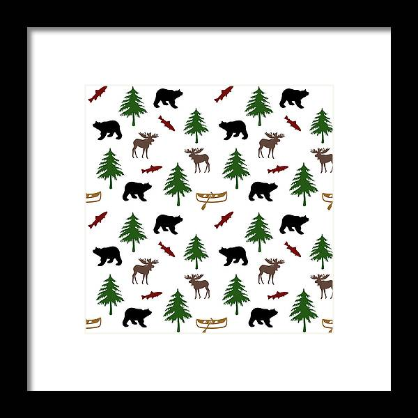 Bear Moose Framed Print featuring the mixed media Bear Moose Pattern by Christina Rollo