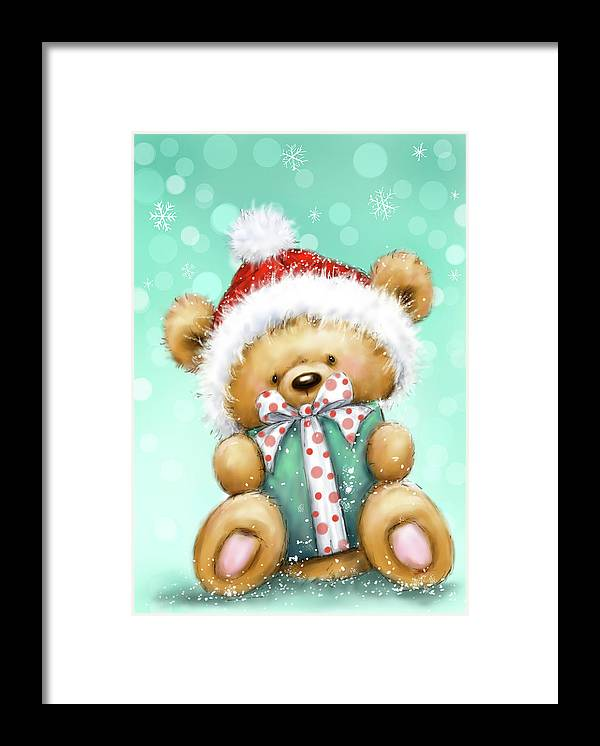 Bear With Green Presnt Framed Print featuring the mixed media Bear With Green Presnt by Makiko